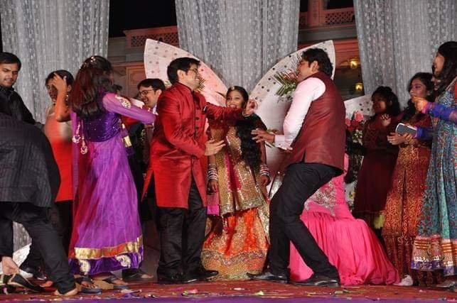 everyone dancing at the sangeet
